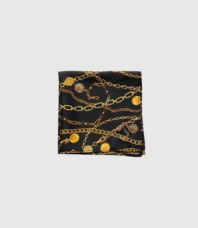Black & Gold Chains Pocket Square