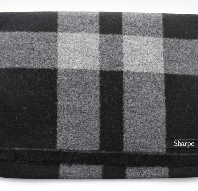 Black and Grey Mulberry Silk Scarf Flat