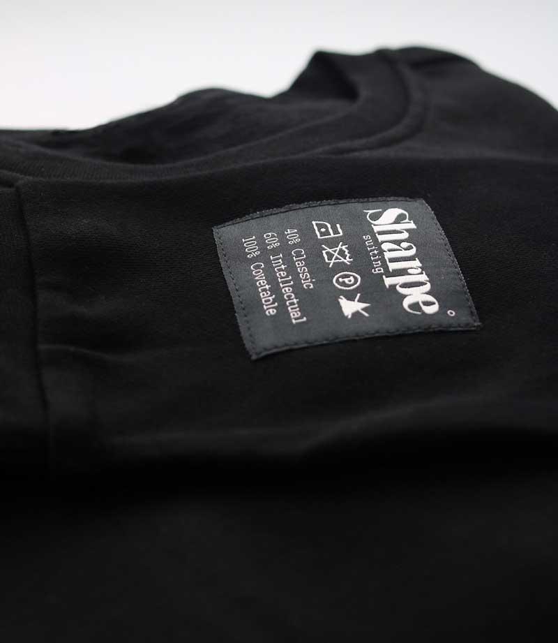 Black Vintage Label hoodie detail