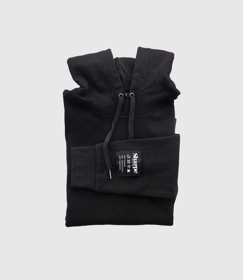 Black Vintage Label hoodie folded