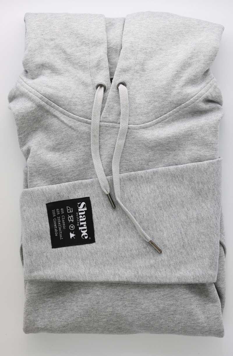 Gray Vintage Label hoodie folded