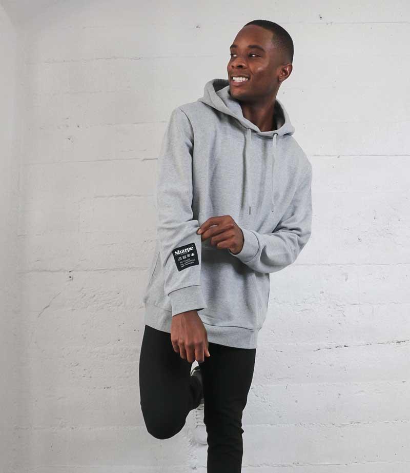 Gray Vintage Label hoodie on Sharpe Suiting model