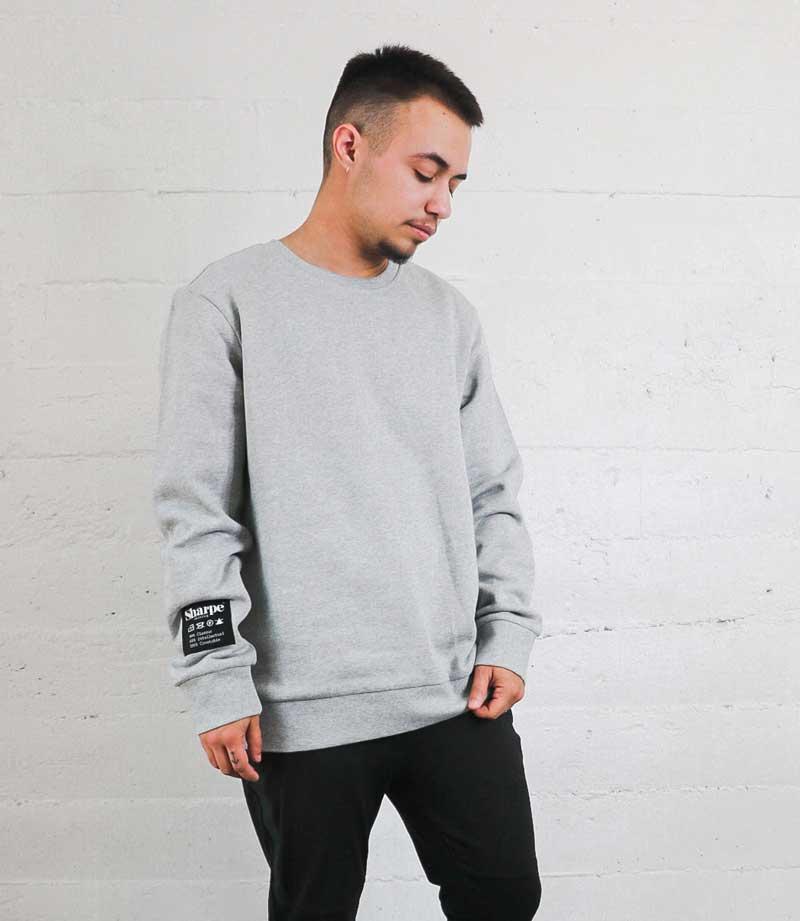 Sharpe Suiting grey vintage comfy sweatshirt being worn