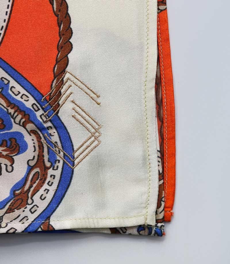 White & Orange & Blue Chariot Pocket Square