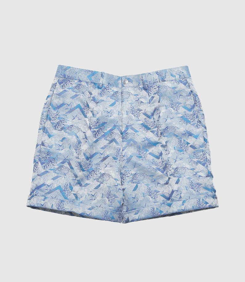 blue patterned dress shorts