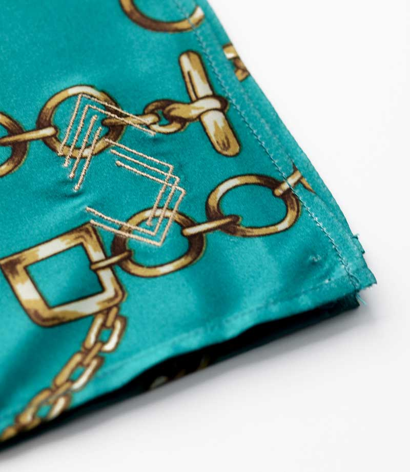 Teal & Gold Chains Pocket Square