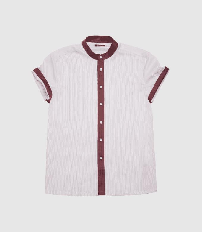 Striped Maroon Dress Shirt