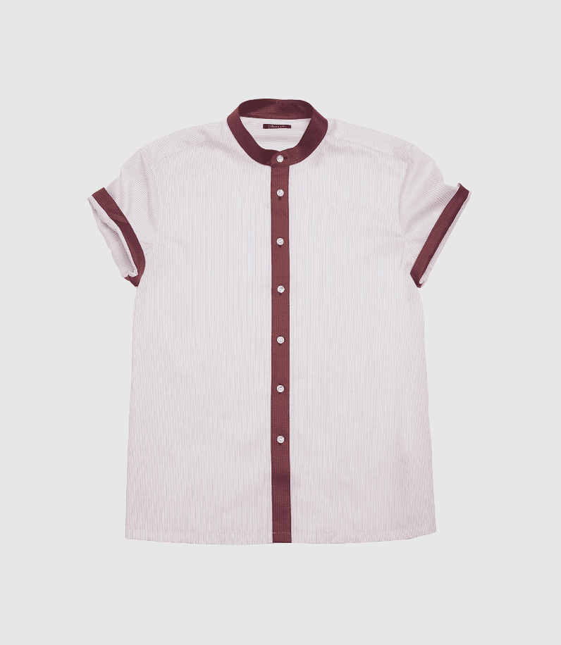Striped Maroon Dress Shirt