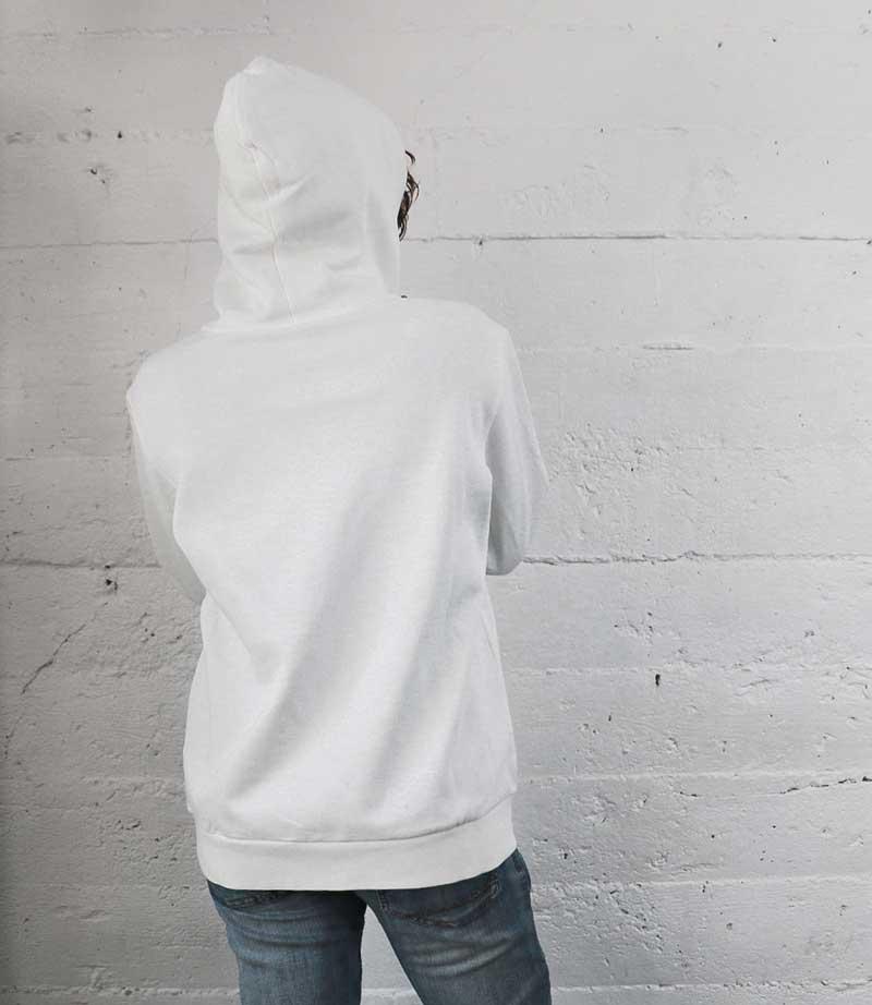 White Vintage Label hoodie back