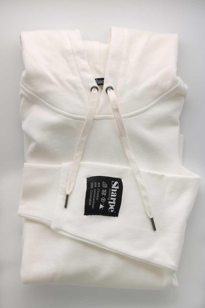 White Vintage Label hoodie folded