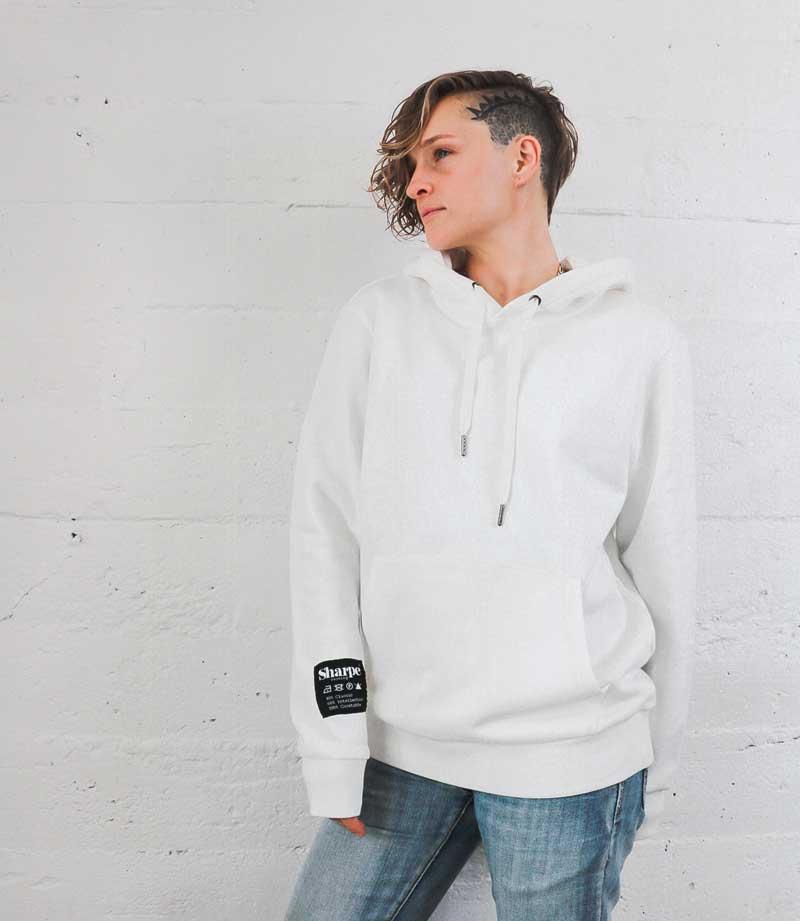 White Vintage Label hoodie on model