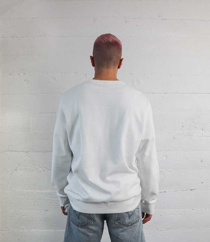 Sharpe Suiting white vintage comfy sweatshirt from the back